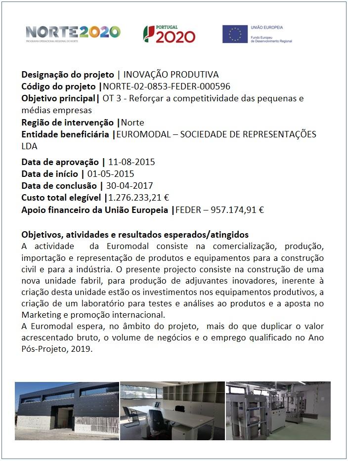 Ficha de Projeto do Programa Norte 2020 da Euromodal